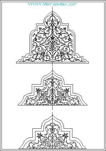 نقشه اتوکد نقوش گچبری اسلامی ایرانی