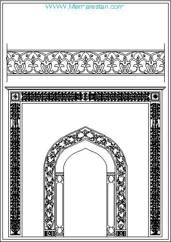 نقوش تزئینی مسجد و محراب و مذهلی برای اتوکد