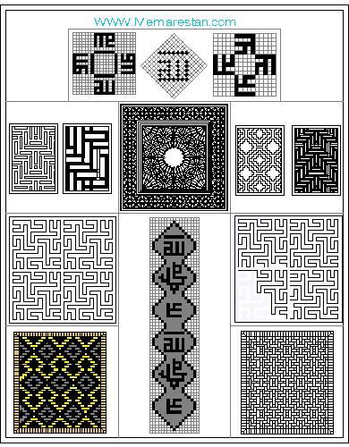 نقوش معقلی و تزئینات آجرکاری و کاشیکاری معماری اسلامی برای اتوکد