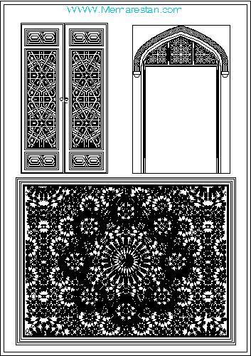 نقوش گره چینی درب های معماری اسلامی ایرانی در اتوکد