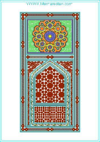 طرح گره چینی درب های معماری سنتی اسلامی ایرانی در اتوکد