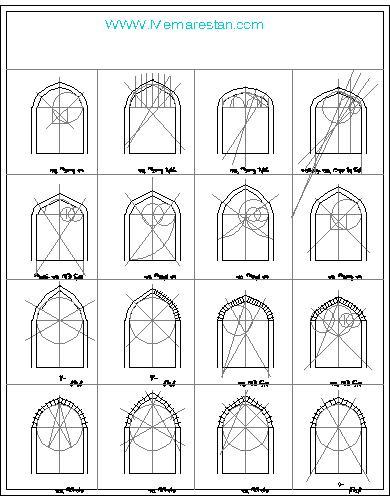 نحوه ترسیم نمونه قوس های معماری اسلامی ایرانی در اتوکد