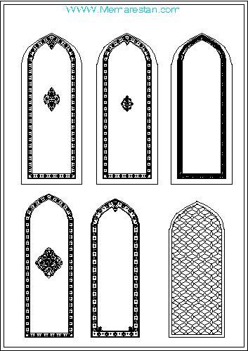 نمونه ترسیمات قوس های تزئینی معماری اسلامی ایرانی در اتوکد