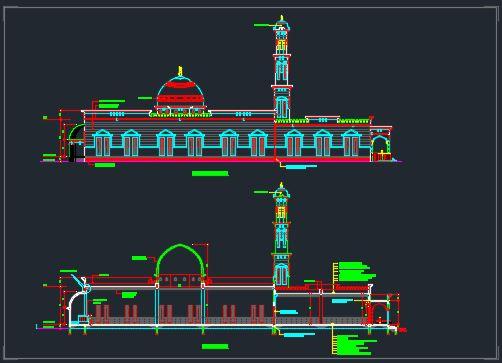 نقشه طراحی معماری مسجد
