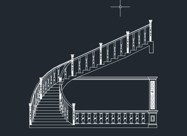 ترسیم انواع پله گرد-نیم دایره-مربع-3 طرفه-2 طرفه-پاگرد